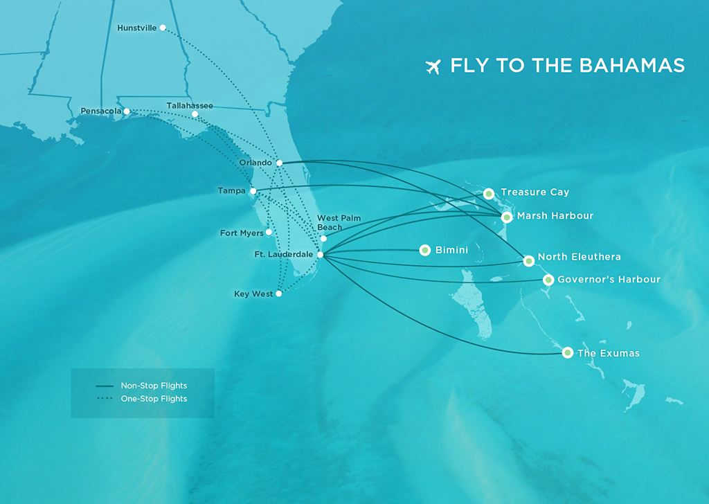 Fly to the Bahamas - Map of Flight Destinations